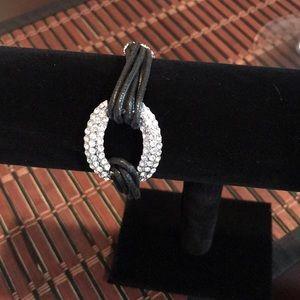 Jewelry - Gorgeous CZ & Leather Strand Bracelet